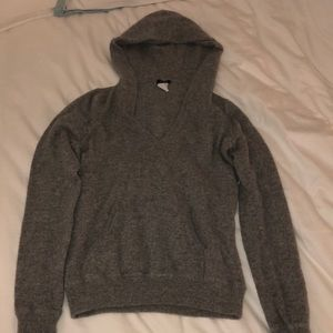 jcrew cashmere grey hooded pullover sweater top
